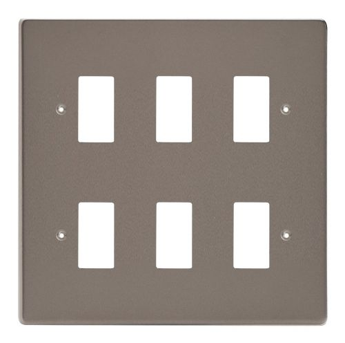 Varilight XDRPG6 PowerGrid Pewter 6 Gang Grid Plate (Double Twin Plate)
